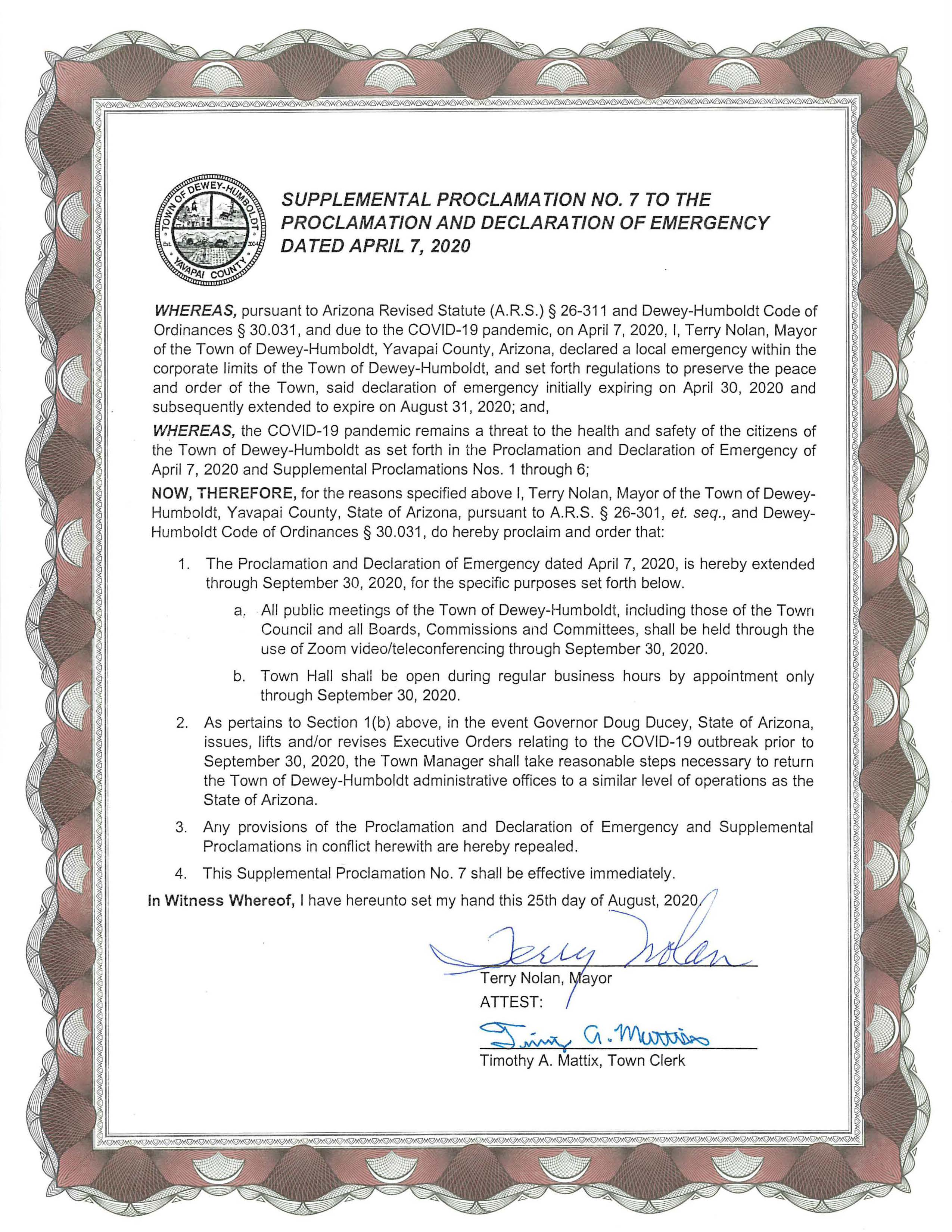 Supplemental Proclamation 7