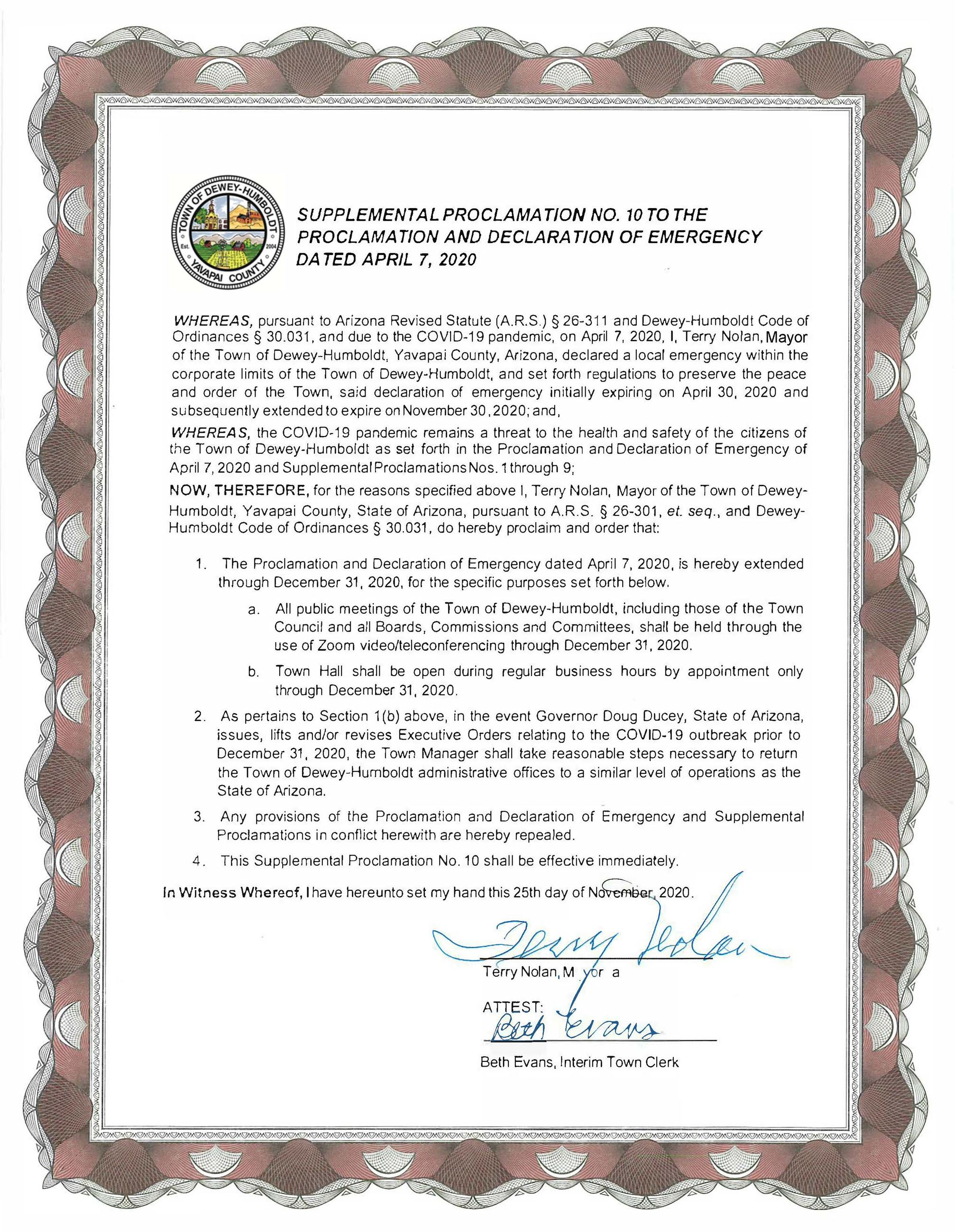 Supplemental Proclamation 10